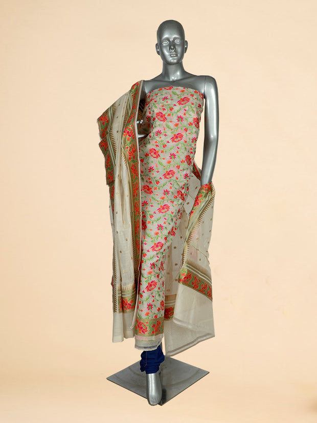 Signoraa Off White Kora Silk Unstitched Salwar Suit-SMS07500- View 1