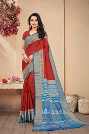 SIGNORAA RED PRINTED TUSSAR SILK SAREE-PTS04355 - VIEW 1