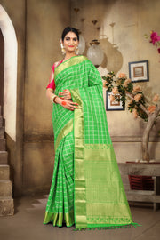 SIGNORAA PARROT GREEN KANCHIPURAM SOFT SILK SAREE-KSL02529 - View 1