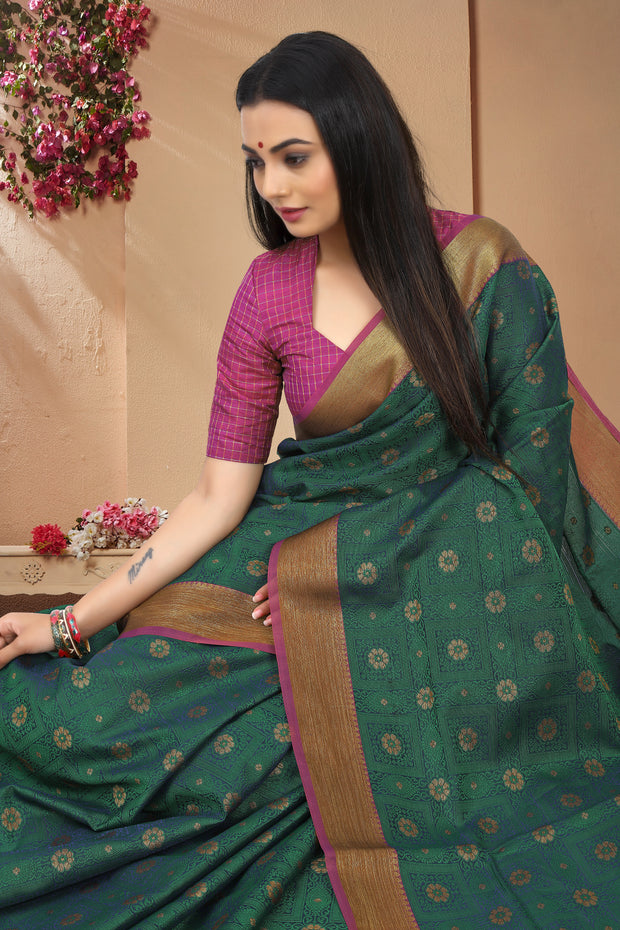 SIGNORAA PEACOCK GREEN FANCY KORA COTTON SAREE-FCT08830A-VIEW2