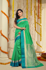 SIGNORAA GREEN HANDLOOM SILK COTTON SAREE-CCC01408-VIEW 1