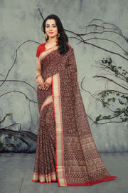 SIGNORAA BROWN PRINTED SOFT TUSSAR SAREE-PTS04326 - VIEW 1