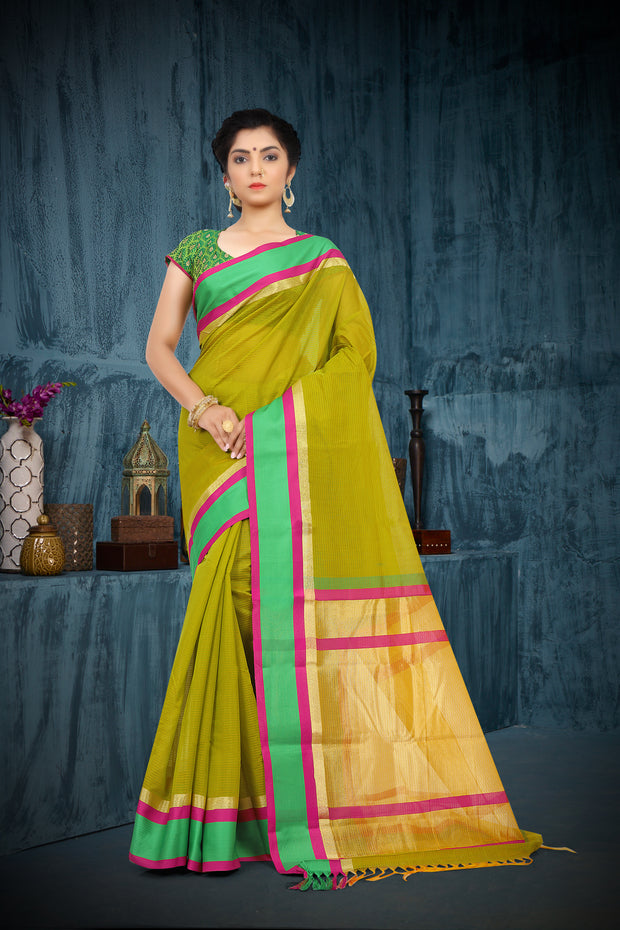 SIGNORAA MEHENDI GREEN SILK COTTON SAREE-CCC01440 - VIEW 1