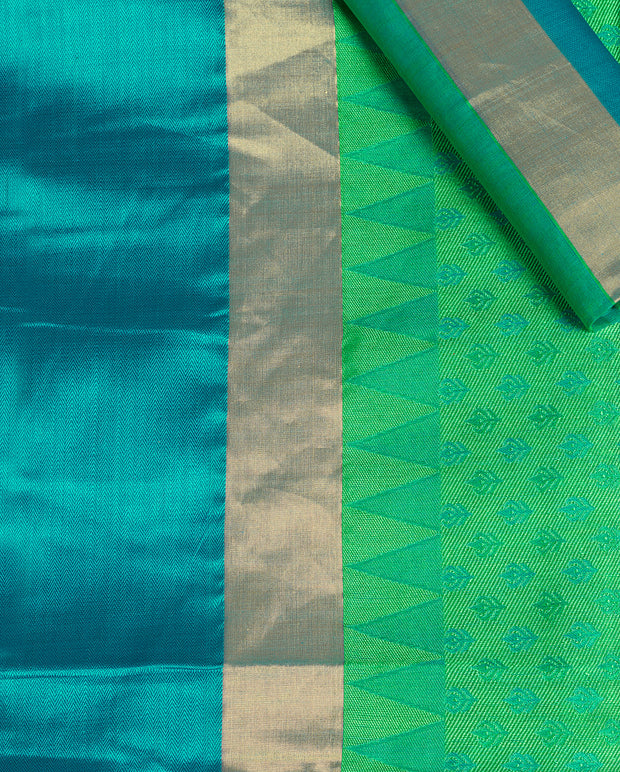 SIGNORAA GREEN HANDLOOM SILK COTTON SAREE-CCC01408-PRODUCT VIEW