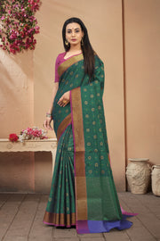 SIGNORAA PEACOCK GREEN FANCY KORA COTTON SAREE-FCT08830A - VIEW 1