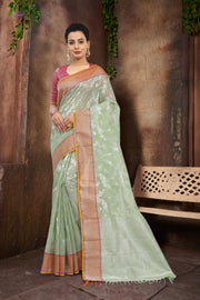 SIGNORAA LIGHT GREEN KOTA SAREE-KTJ03293 - VIEW 1