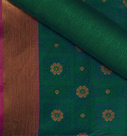 SIGNORAA PEACOCK GREEN FANCY KORA COTTON SAREE-FCT08830A- PRODUCT VIEW