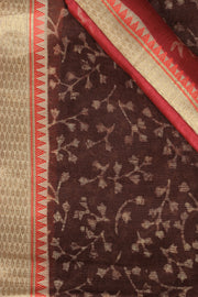SIGNORAA BROWN PRINTED SOFT TUSSAR SAREE-PTS04326 - PRODUCT VIEW