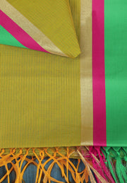 SIGNORAA MEHENDI GREEN SILK COTTON SAREE-CCC01440 - PRODUCT VIEW