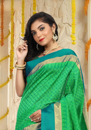 SIGNORAA GREEN HANDLOOM SILK COTTON SAREE-CCC01408-VIEW 2