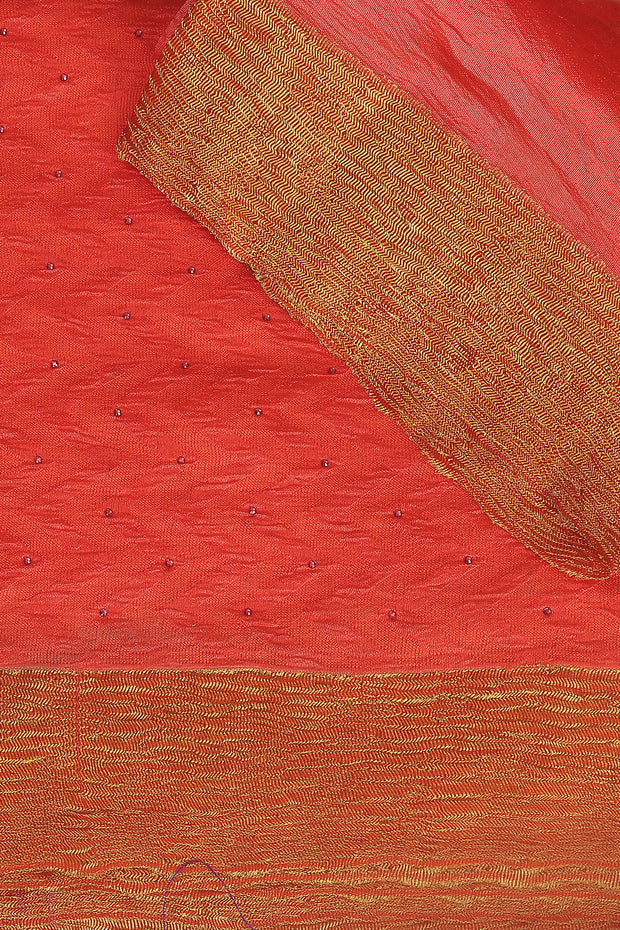 SIGNORAA DARK PEACH RAW SILK SAREE-PTS04374 - PRODUCT VIEW