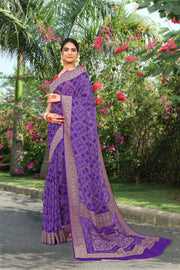 SIGNORAA PURPLE BANDHANI GEORGETTE SAREE-BNI00913 - View 1