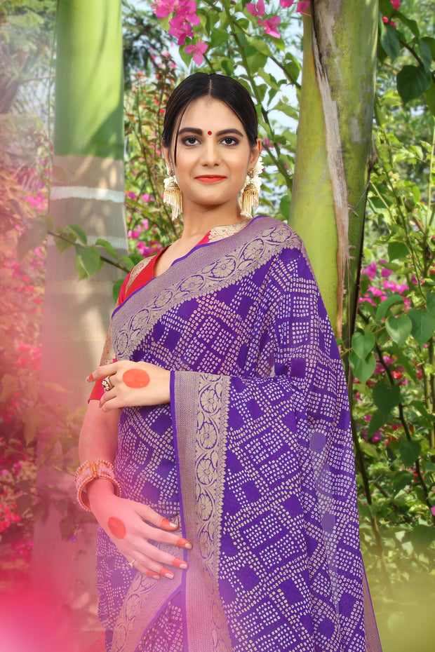 SIGNORAA PURPLE BANDHANI GEORGETTE SAREE-BNI00913 - View 2