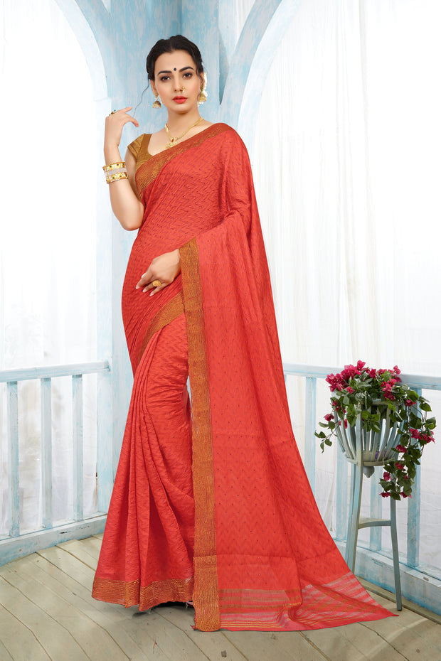 SIGNORAA DARK PEACH RAW SILK SAREE-PTS04374 - VIEW 1