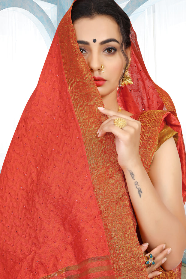SIGNORAA DARK PEACH RAW SILK SAREE-PTS04374 - VIEW 2