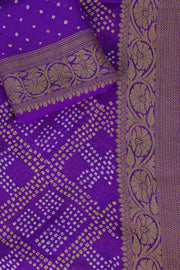 SIGNORAA PURPLE BANDHANI GEORGETTE SAREE-BNI00913 - Product View
