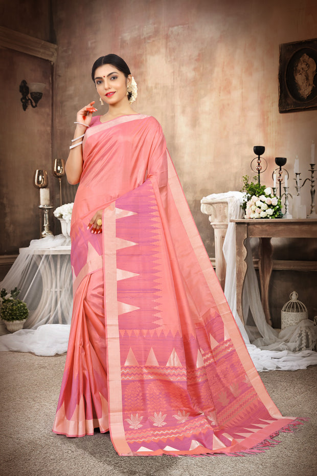 SIGNORAA PEACH KANCHIPURAM SOFT SILK SAREE-KSL02443-View 1