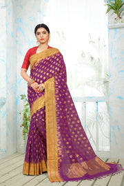SIGNORAA PURPLE UPPADA KHADI COTTON SAREE-OPD01466-View 1