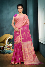 SIGNORAA PALE PINK KANCHIPURAM SOFT SILK SAREE-KSL02479 - View 1