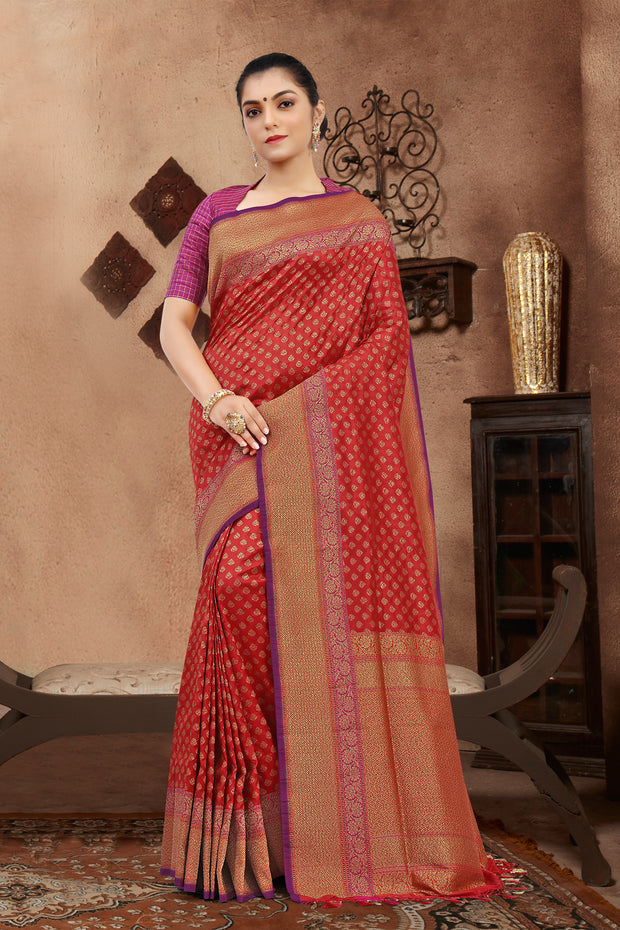 SIGNORAA  RED BANARASI SILK SAREE-BSK07581B - View 1