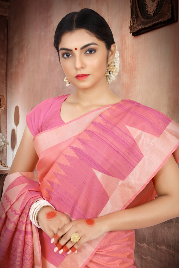SIGNORAA PEACH KANCHIPURAM SOFT SILK SAREE-KSL02443-View 2
