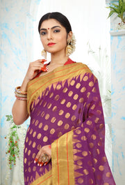 SIGNORAA PURPLE UPPADA KHADI COTTON SAREE-OPD01466-View 2