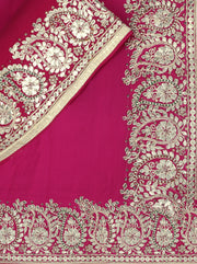 SIGNORAA RANI PINK GEORGETTE SILK SAREE-EMB02166 - PRODUCT VIEW