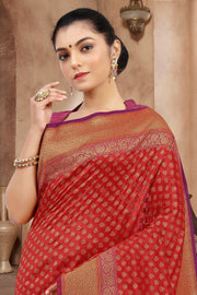 SIGNORAA  RED BANARASI SILK SAREE-BSK07581B - View 2