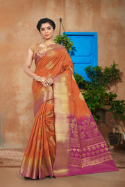 SIGNORAA ORANGE DAILY WEAR SEMI TUSSAR SAREE-SASYN05917 -View 1