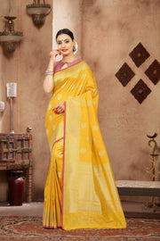 SIGNORAA YELLOW BANARASI SILK SAREE-BSK07491 - View 1