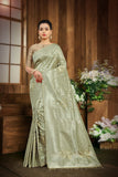 SIGNORAA PASTEL GREEN KANCHIPURAM SOFT SILK SAREE-KSL02492 A - View 1