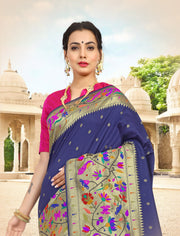 SIGNORAA NAVY BLUE PAITHANI SEMI SILK SAREE - PTN00124 - VIEW 1