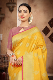 SIGNORAA YELLOW BANARASI SILK SAREE-BSK07491 - View 2
