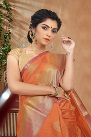 SIGNORAA ORANGE DAILY WEAR SEMI TUSSAR SAREE-SASYN05917- View 2