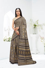 SIGNORAA GREY PRINTED TUSSAR SILK SAREE-PTS04376 A - VIEW 1