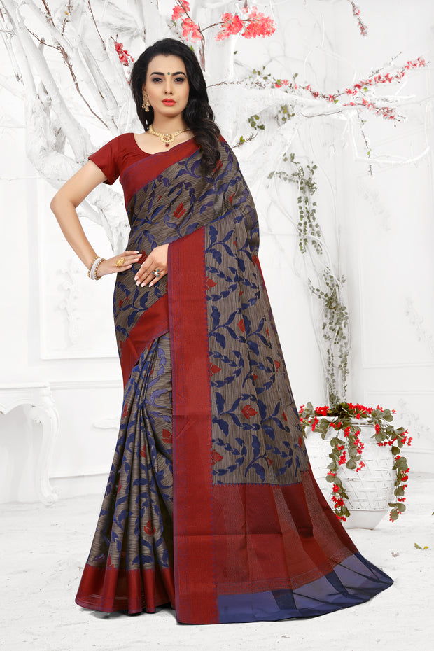 SIGNORAA NAVY BLUE FANCY BANARAS COTTON SAREE-FCT08678 - View 1