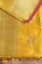 SIGNORAA YELLOW BANARASI SILK SAREE-BSK07491 - Product View