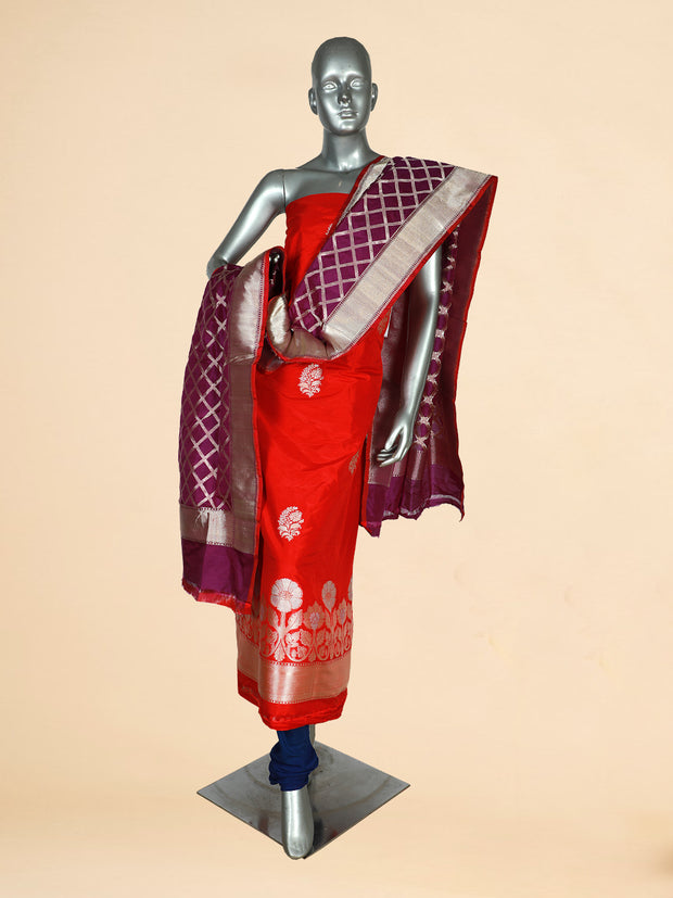 Signoraa Red and Purple Banarasi Pure Silk Unstitched Salwar Suit-SMS07887