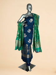 Signoraa Peacock Blue Banarasi Pure Silk Unstitched Salwar Suit-SMS08013- View 1