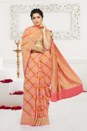 SIGNORAA PEACH BANARASI GEORGETTE SILK SAREE-CHG03427 - VIEW 1