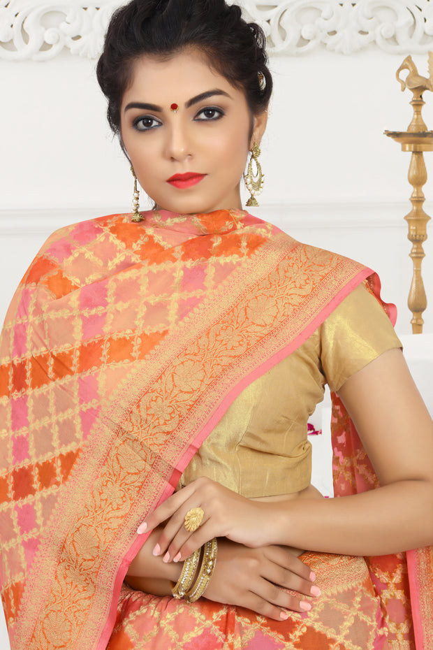 SIGNORAA PEACH BANARASI GEORGETTE SILK SAREE-CHG03427 - VIEW 2