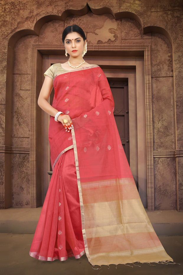 SIGNORAA TOMATO RED LINEN SAREE-KSL02497 - View 1