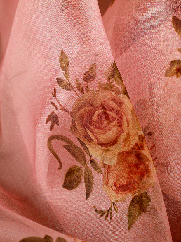 Signoraa Pink Organza Unstitched Fabric-PMT010934- View 1