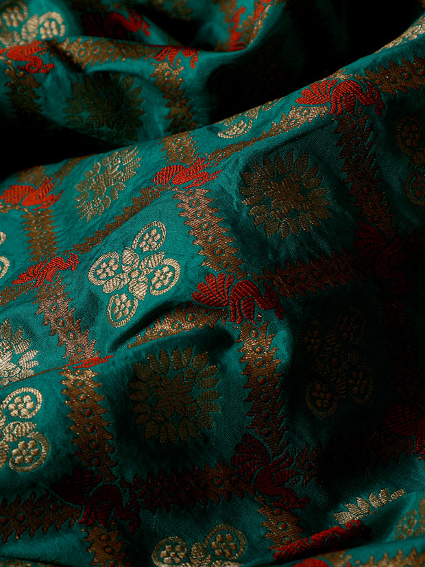Signoraa Teal Blue Banarasi Silk Unstitched Fabric-PMT010660- View 2