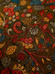 Signoraa Khaki Green Kalamkari Silk Unstitched Fabric-PMT011684A- View 2