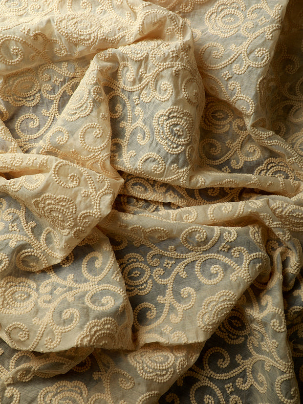 Signoraa Cream Chanderi Unstitched Fabric-PMT011280-View 2