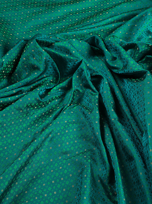 Signoraa Shot Blue Banarasi Pure Silk Unstitched Fabric-PMT010906 B- View 2