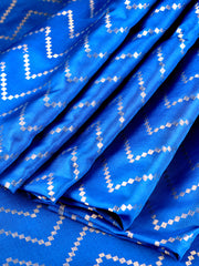 Singoraa Blue Banarasi Pure Silk Unstitched Fabric-PMT011691-View 1