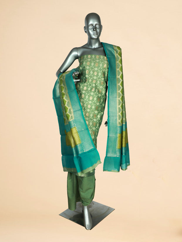 Signoraa Green Chanderi Unstitched Salwar Suit-SMS08064-View 1