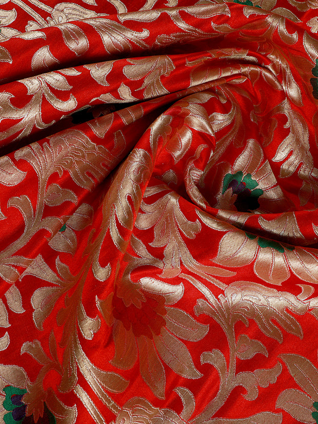 Signoraa Red Satin Kimkhwab Unstitched Fabric-PMT05142- View 2